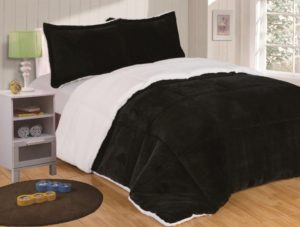 Chezmoi Collection 3-piece Micromink Sherpa Reversible Down Alternative Comforter Set Black