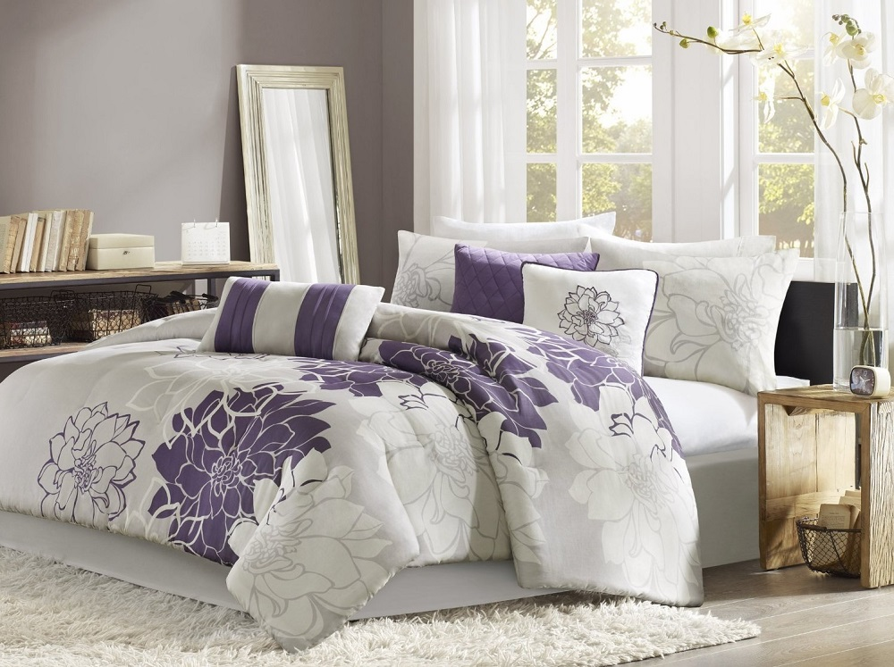 Madison Park Lola Cotton Sateen Printed Comforter 7pcs Set, Purple - Cal.King
