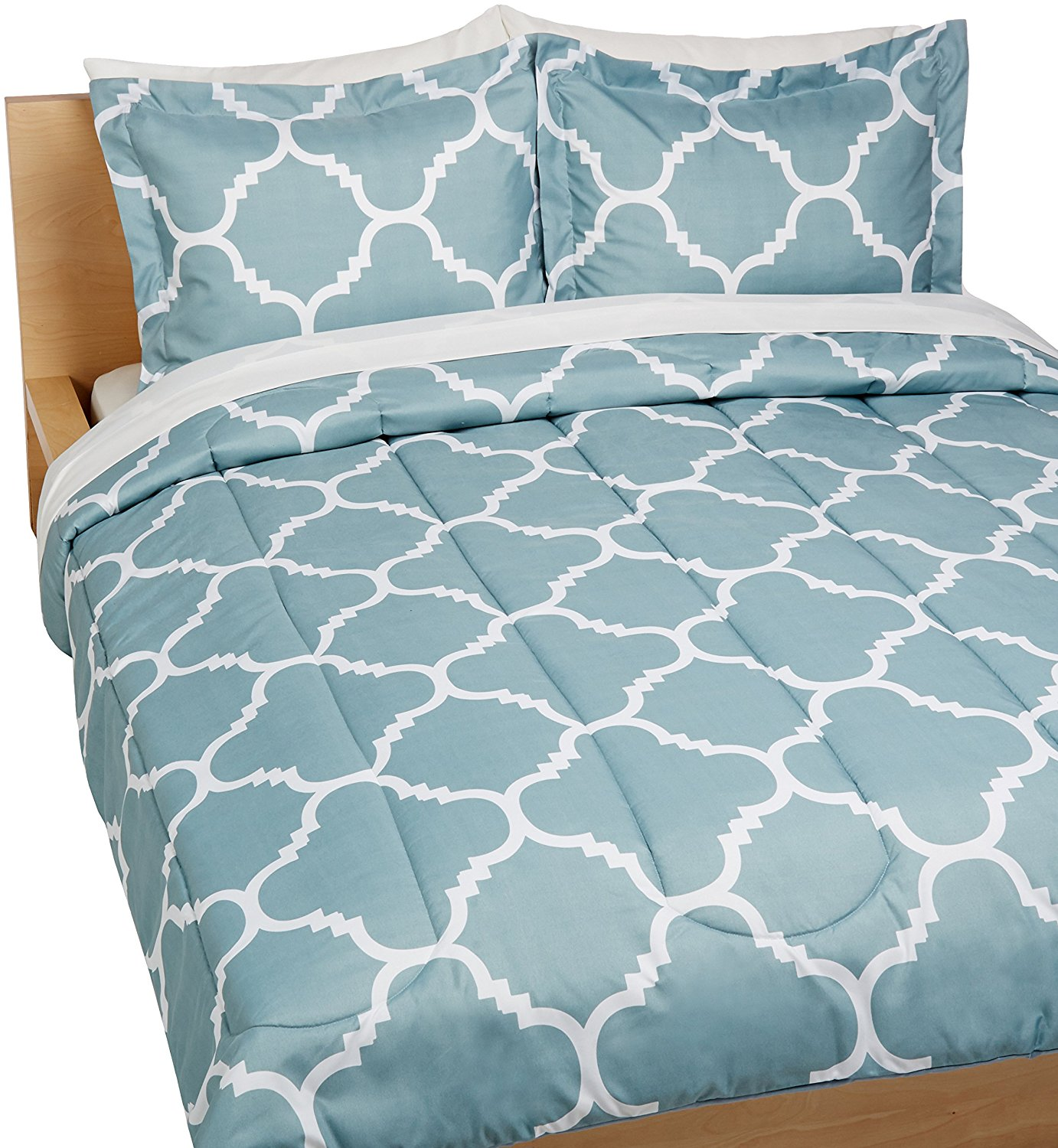 AmazonBasics 7 Piece Bed In A Bag - Full Queen, Dusty Blue Trellis