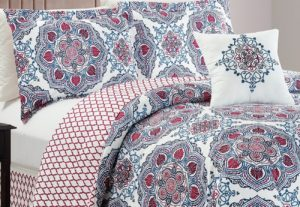 Red White Blue Reversible Abstract Color BedChezmoi Collection 5 pc Comforter Set