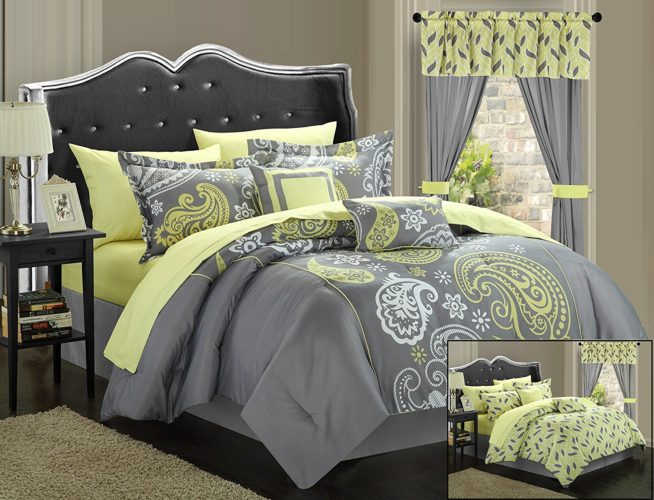 Yellow Floral Bedding - Olivia 20-Piece Reversible Touch of Yellow Floral Comforter Set Bed in a Bag