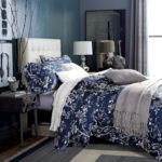 Cotton Egyptian White and Blue Floral Bedding Set