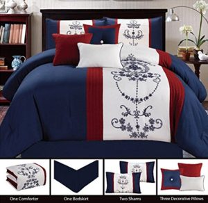 Red White Blue Bedding Set with accent pillows