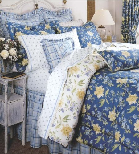 Laura Ashley Emilie Collection Touch of Yellow Floral Queen Comforter Set