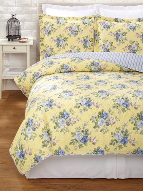 Laura Ashley Linley Touch of Yellow Quilt Set, Twin
