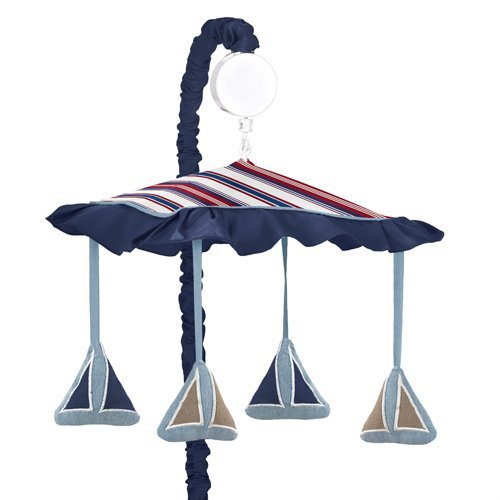 Nautical Nights Sailboat Musical Red White Blue Baby Crib Mobile