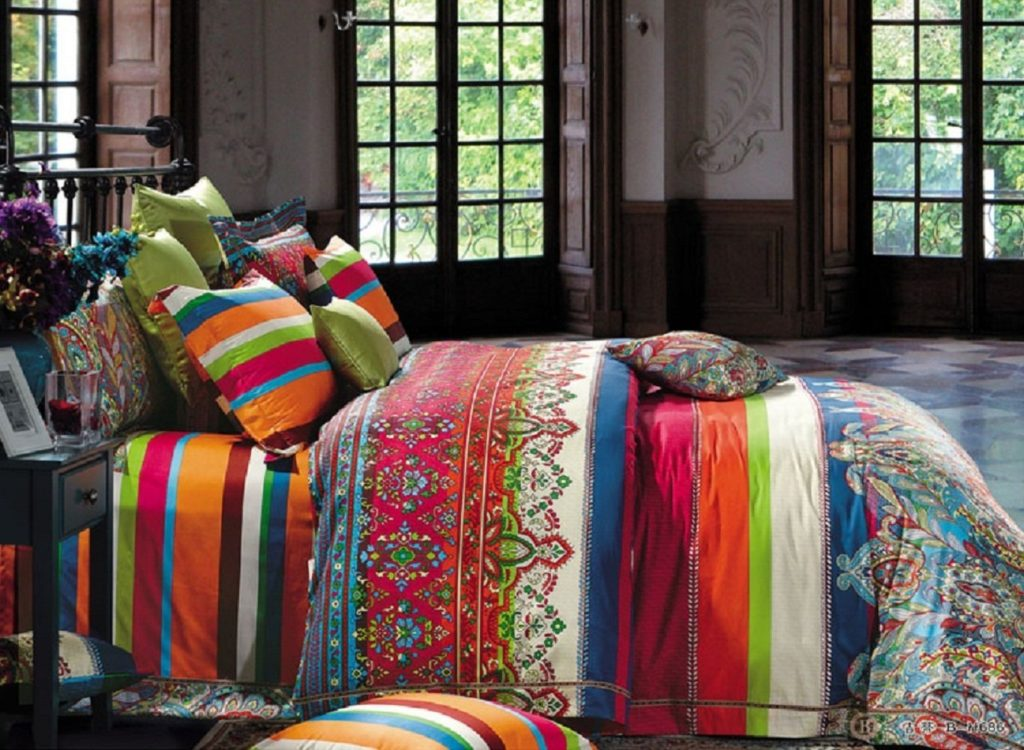Boho Chic Bedding, Bohemian Bedding Sets, Bohemian Queen, Morocco Stripe Pattern, Boho Chic Duvet Cover Sets, Boho Bedding