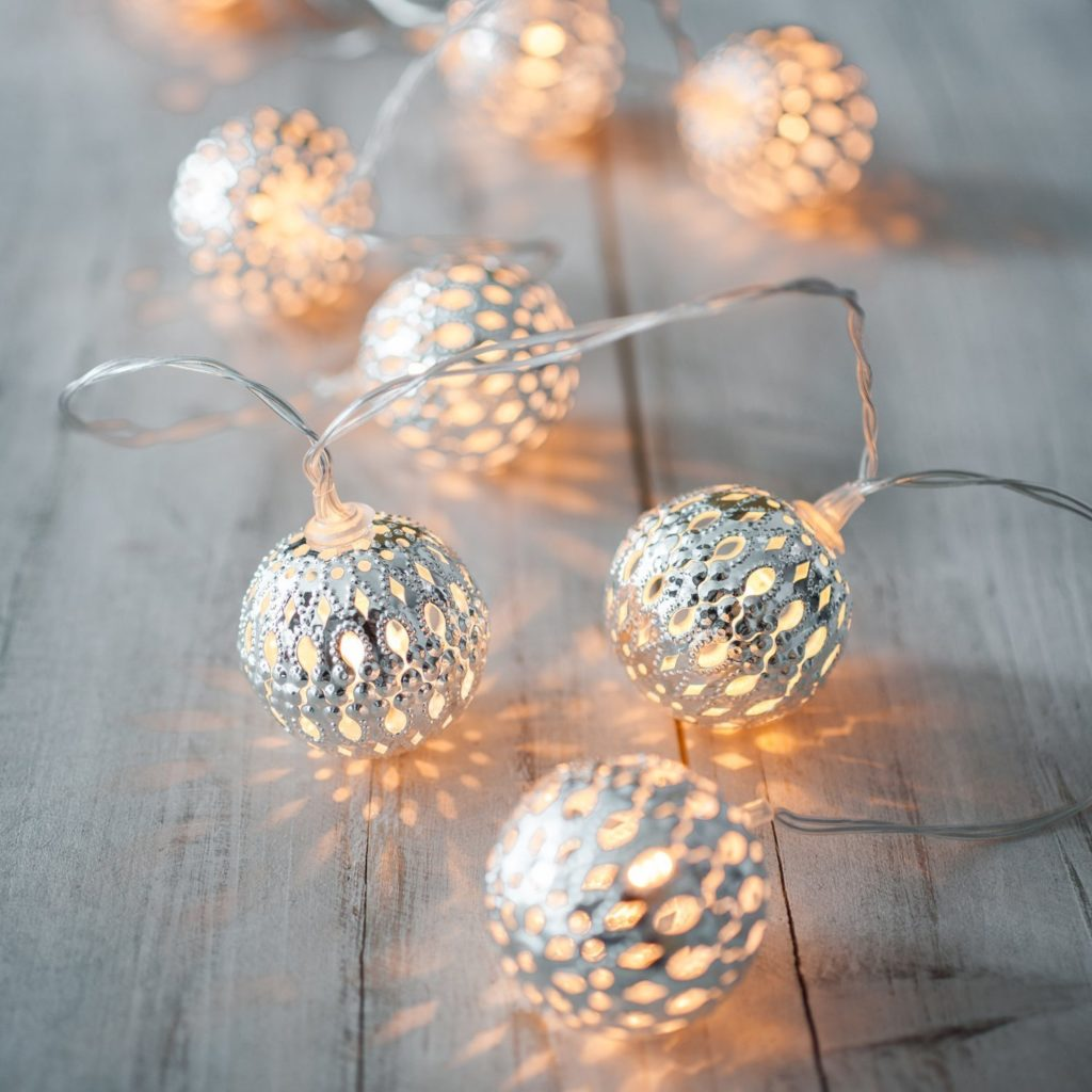 LED lights Battery Operated Silver Moroccan Orb LED Fairy Lights with 10 Warm White LEDs
