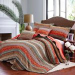 Boho Bedspread Quilt Sets, Bohemian Queen, Best Striped Classical Cotton 3-Piece Patchwork