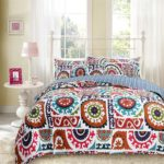 Bohemian Chic Bedding Wildfire Gardens Reversible, Cotton Bohemian Quilted Coverlet Bedspread Set - Multi Colorful Rainbow Geometric Floral Print - Bohemian King