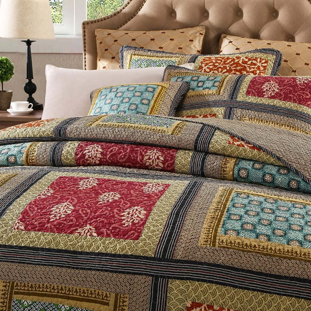 Boho Chic Bedding, Bohemian Bedding Collection Reversible, Bohemian Real Patchwork Gallery of Roses, Cotton Bohemian Quilt Bedspread Set