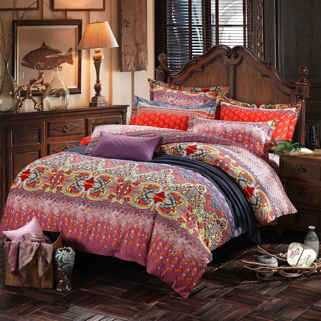 red bohemian products cover set tan beige bed bright bohochic comforter mandala boho duvet bedding and decor cream