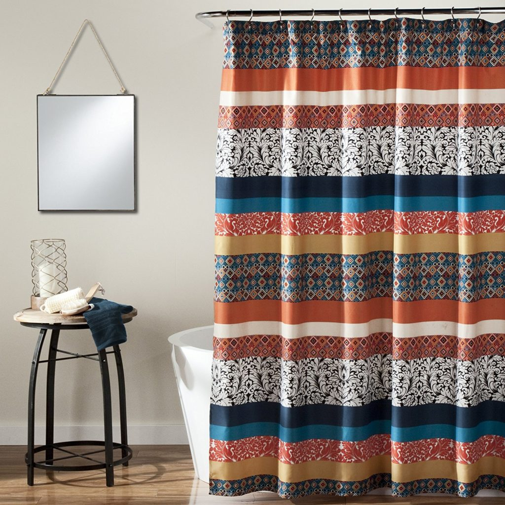 Lush Decor Bohemian Chic Stripe Shower Curtain, 72 x 72 Turquoise-Orange