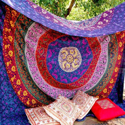 Marubhumi Hippy Mandala Bohemian Tapestries, Indian Dorm Decor, Psychedelic Tapestry Wall Hanging Ethnic Decorative Tapestry