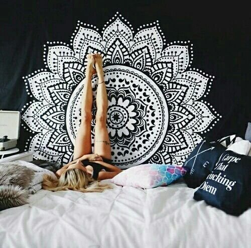 Ombre Mandala Tapestry - Black and White Indian - Hindu Wall Hanging - Bohemian Wall Decor