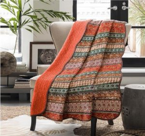 Boho Chic Bedding Stitching Reversible Floral Patchwork Quilted Throw Orange Jacquard