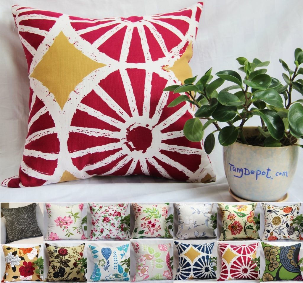 Bohemian Pillow TangDepot 100% Cotton Floral-Flower Printcloth Decorative Throw Pillow Covers