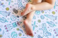 Breathable Crib Sheets, 100% Organic Cotton Fitted Crib Sheet by ADDISON BELLE - Premium Baby Bedding - Soft,& Durable (Space)