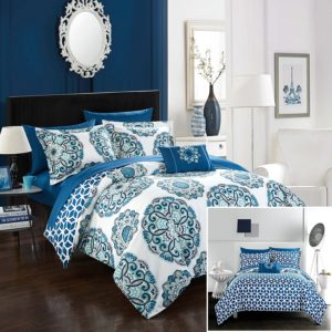 Chic Home Barcelona 8 Piece Reversible Comforter Set, King, Blue and White Bedding