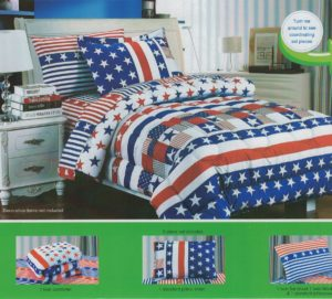 Patriotic Flag Red White and Blue Boy Bedding, Children's Twin Size Patriotic Flag Print Bedding Comforter Sheets Set, 5 Pieces