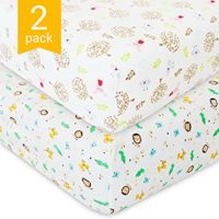 Best Crib Sheets for Baby - 2 Unisex Bedding Sheet Set - 100% Organic Fitted Jersey Cotton - Bed Mattress Cover - For Boys and Girls - Infant & Toddler