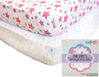 Best Fitted Crib Sheets - 100% Organic Jersey Cotton - 2-Pack, Soft, Breathable, Fits all Standard Baby Cribs & Mattresses, Cute Designs for Girls