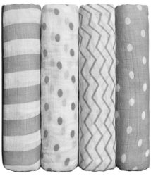 Muslin Baby Swaddle Blankets Spots n' Stripes 4 Pack- CuddleBug 47 x 47 inch Large Muslin Swaddles - Soft Cotton Blankets - Baby Shower Gift - Perfect for Nursery Sets - Unisex