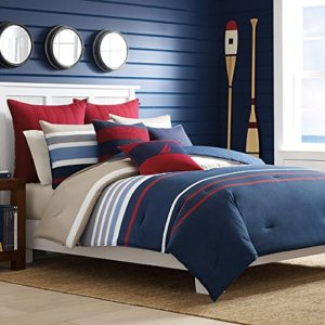 Nautica Bradford Red White and Blue Reversible Comforter Set, Full-Queen