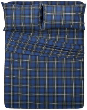 pinzon 160 gram plaid velvet flannel sheet set queen blackwatch plaid - Flannel Sheets Queen