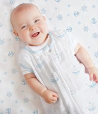SwaddleDesigns Cotton Muslin Best Crib Sheets, Pastel Blue Nautical Ahoy Boy Sheets!
