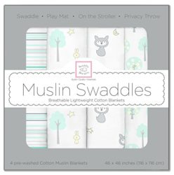 SwaddleDesigns Cotton Muslin Swaddle Blankets, Set of 4, Green Woodland