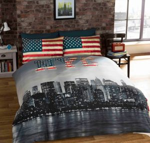 TWIN AMERICAN UNITED STATES FLAG REVERSIBLE COTTON BLEND RED WHITE AND BLUE COMFORTER DUVET COVER