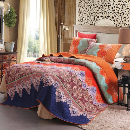 Boho Chic Bedding, 100% Cotton 3-Piece Rich Printed Boho Quilt Set, Reversible& Decorative - Full-Queen by Exclusivo Mezcla