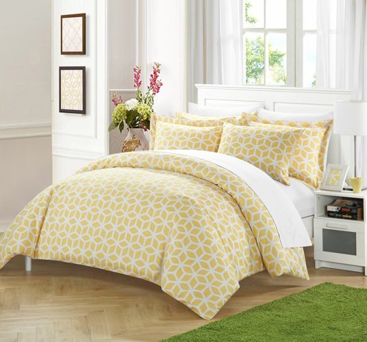 Chic Home 3 Piece Cyril Geometric Diamond Printed reversible King Duvet-Cover-sets Yellow