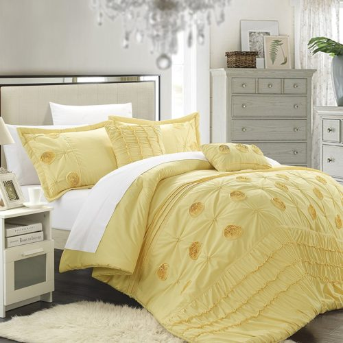 Chic Home 5-Piece Florentina Floral Pleated Comforter Set, Yellow Queen Bedding