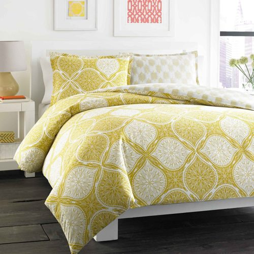 City Scene Wanderlust Reversible Duvet Cover Set, King White and Yellow Bedding