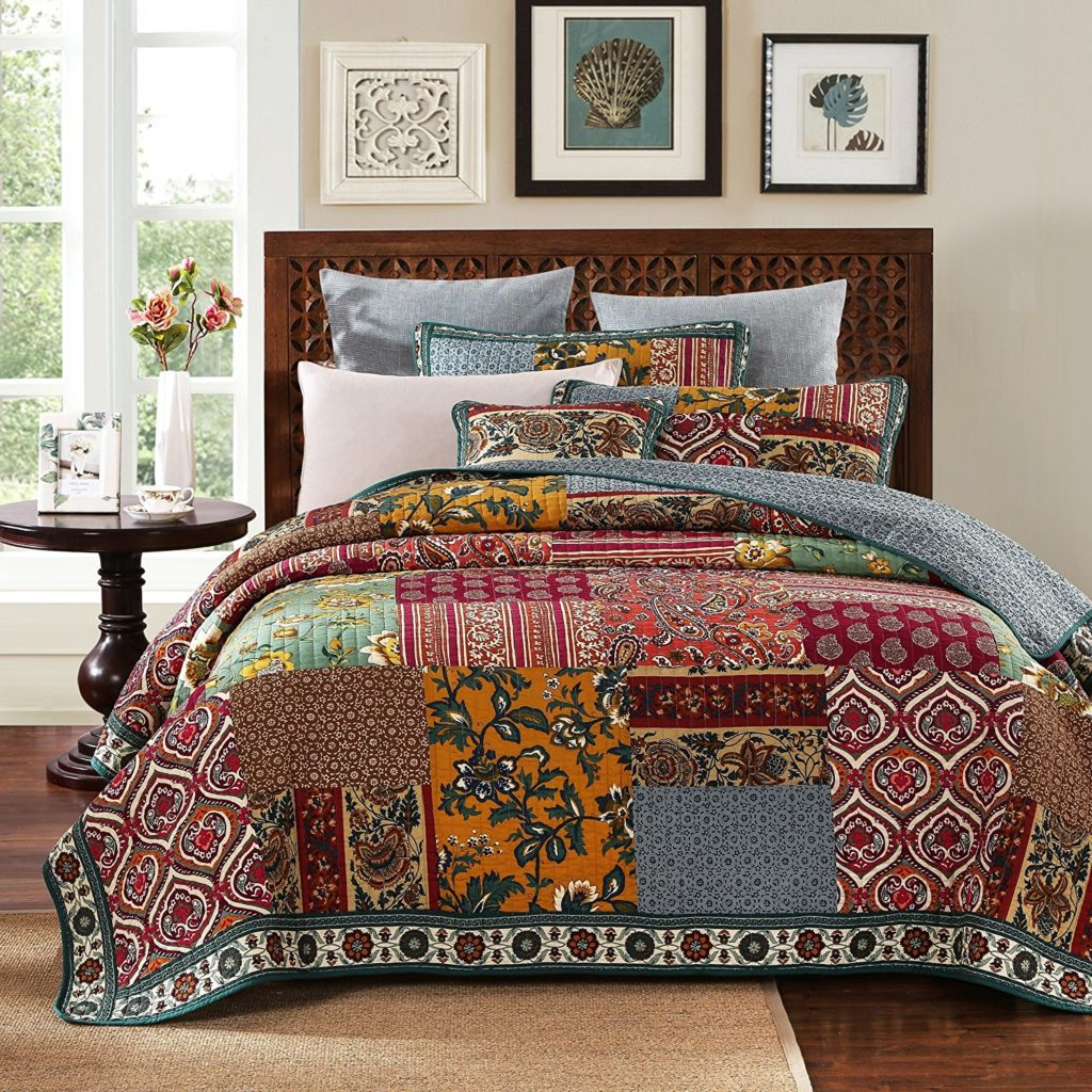 DaDa Bedding Collection Reversible Bohemian Style Bedding Real Patchwork 100% Cotton Dark Elegance 3-Piece Floral Quilt Cover Set, King