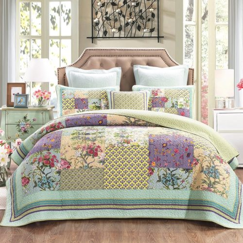 Boho Chic Bedding, DaDa Bedding Frosted Pastel Gardenia Bohemian Reversible Cotton Real Patchwork Quilted Coverlet Bedspread Set - Bright Vibrant Floral Paisley Colorful Blue Lav