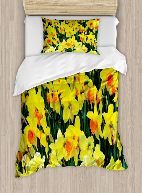 Daffodil Decor Duvet Cover Set by Ambesonne, Daffodil Narcissus Gardening Nature Botanical Theme Seasonal Floral Picture Print, Twin XL, Yellow Green