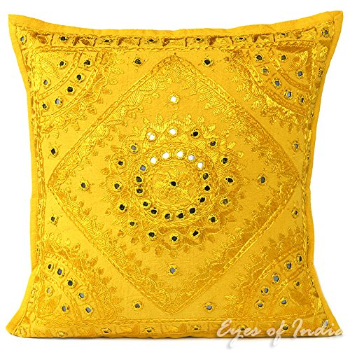 EYES OF INDIA - 16in Yellow Mirror Embroidered Decorative Throw Pillow Cushion Cover Boho Chic Bohemian