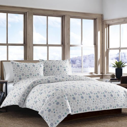 Eddie Bauer 210643 Tossed Flannel Duvet Cover Set, Full-Queen, Snowflake