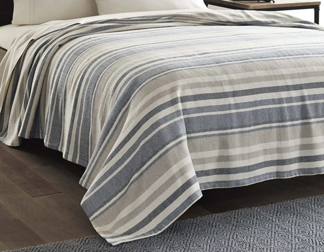 Eddie Bauer 213123 Herringbone Blanket, Full-Queen, Blue Stripe - Best Rated Eddie Bauer Blanket