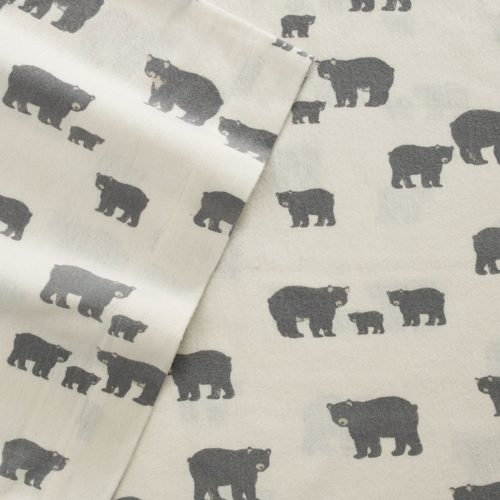 Eddie Bauer 216284 Bear Family Twin Flannel Sheet Set, Twin, Gray