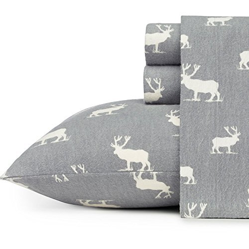 Eddie Bauer 216297 Elk Grove Cozy & Warm Flannel Sheet Set, Queen, Gray
