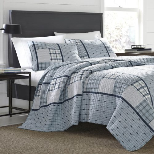 Eddie Bauer 221105 Windermere Reversible Quilt Set, Full-Queen, Windermere Blue