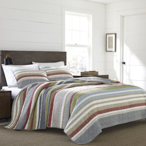 Eddie Bauer 221108 Salmon Ladder Reversible Quilt Set, Full-Queen, Salmon