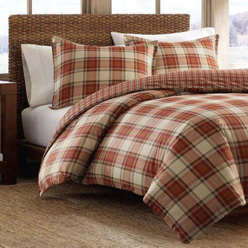 Eddie Bauer Edgewood Plaid Duvet Cover Set, King, Red - Best Rated Eddie Bauer Duvet Cover Set