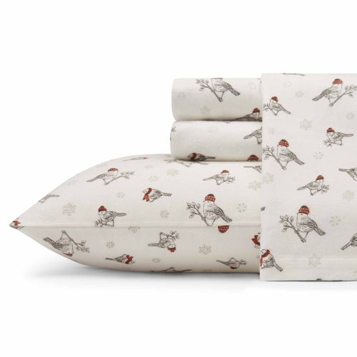 Eddie Bauer Frosty Finch Cotton Flannel Sheet Set Queen, Bright Red