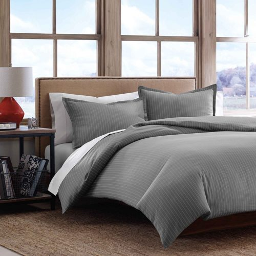 Eddie Bauer Pinstripe Cotton Sateen Duvet Covet Set, King, Gray
