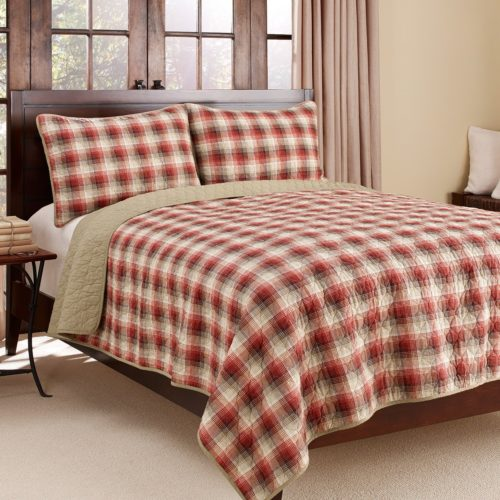 Eddie Bauer Ravena Plaid 3-Piece Cotton Reversible Quilt Set, Full-Queen